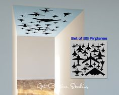 Airplane Decal Wall Ceiling Above Silhouette Flying Over Kids Room Man Cave Fighter Air Force Aircraft Fly Pilot Jet B52 Stealth F16 B29 -
