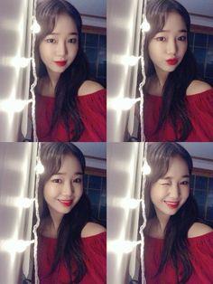 Yoojung in red💋❤️ - fancafe update . Choi Yoojung, Ioi, Girl Day, Ulzzang Girl, Selfie, South Korean Girls, Girl Group, Snsd, Fit Women