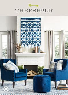 Freshen up your fall decor with an unexpected hue. Stick to a singular color palette, and even the most unlikely patterns and pieces will be instant friends. Try mixing classic wingback chairs, Japanese-inspired Shibori art and a tapestry rug in this rich, on-trend cobalt. Threshold, only at Target