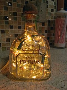 Silver Patron and Fireball Whiskey Lighted Bottles by Ruth | How to Make A Bottle Lamp