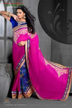 Pink color pure georgette fabric designer saree  http://www.vardhita.co.uk/product/pink-color-pure-georgette-fabric-designer-saree-39-03/
