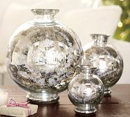 Floral Etched Mercury Glass Vase ~ love me some mercury glass!