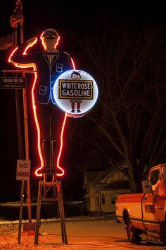 Menlo Iowa White Rose Gas Station Man on Historic US Route 6 White Pole Road.