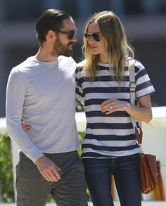 Stripes are for Lovers: Kate Bosworth Michael Polish on the move.