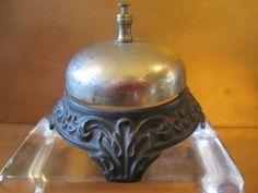 Antique Vintage Hotel Bellhop Bell Victorian Cast Iron Ornate Filigree