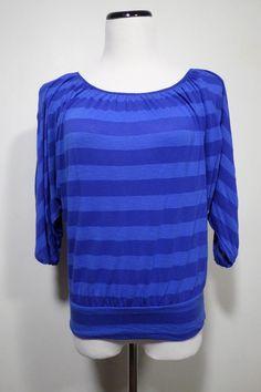 EXPRESS Blouse Blue Striped Batwing / Dolman Top - Size S #Express #Blouse