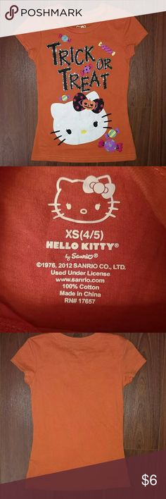 Hello Kitty Halloween Top Size 4/5 Great condition, super cute and glittery!  Runs like a 4t Shirts & Tops Tees - Short Sleeve