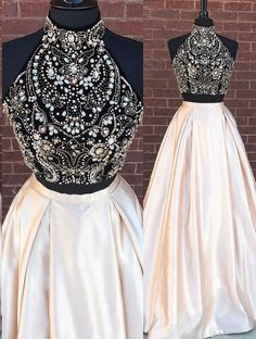 Sparkly Two Piece/2 Piece Long Prom Dresses With Rhinestone Beaded on Luulla