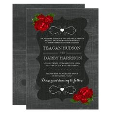 #country - #Red Floral Roses Wood Gothic Wedding Invites