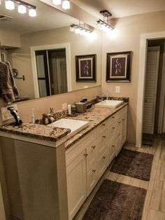 Our NEW Master Bath! House Renovations, Home Remodeling, Counter Top, Sinks, Double Vanity, Master Bath, Bathroom Ideas, New Homes, Decorating