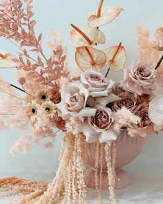 Floral Arrangement by Nikau Flora See more on The Lane Dried Flower Arrangements, Wedding Flower Arrangements, Floral Centerpieces, Dried Flowers, Wedding Centerpieces, Wedding Bouquets, Flower Bar, Flower Vases, Flower Shops