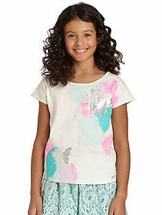 DKNY Girl's Watercolor Butterfly Tee