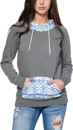 Empyre Larissa Grey & Multicolor Tribal Print Pullover Hoodie at Zumiez : PDP