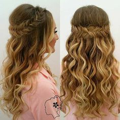 Curly, Half Up Fishtail Braid Hairstyle