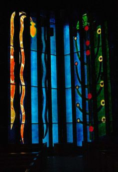 John Piper/Patrick Reyntiens window in All Saints Church Clifton, Bristol.This window is fabricated with fibre -glass.