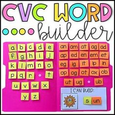 , CVC Word Builder Activity - Word Families , Want a fun activity for students to practice building CVC words? This activity is a perfect addition to literacy centers, intervention programs and so. Word Family Activities, Preschool Learning Activities, Kindergarten Literacy, Literacy Centers, Teaching Phonics, Teaching Aids, Teaching Reading, Grande Section, Word Study
