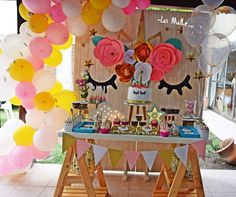 This Unicorn Birthday Party is amazing!! See more party ideas and share yours at CatchMyParty.com #unicorn #desserttable