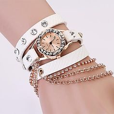 [CyberMondaySale]mujeres reloj de diamantes de imitación bohemio correa de cuero de la cadena