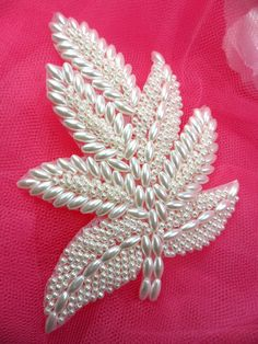 "FS140  Leaf Applique White Pearl Beaded Motif Patch 4""   (FS140-pl)"