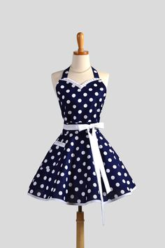 Sweetheart Retro Apron - Sexy Womens Apron Navy Blue and White Nautical Polka Dot Cute Full Kitchen Apron. $38.00, via Etsy.