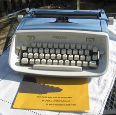 Vintage Working Royal Aristocrat Manual Typewriter with Case and Key, Blue and Cream 1960's by CanemahStudios on Etsy