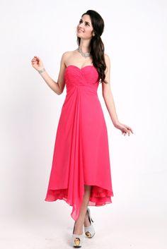 1626 Strapless, tea-length, chiffon bridesmaid dress #TealengthBridesmaidsDresses