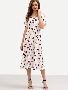Buttoned Front Rose Print Long Dress - White 22.99