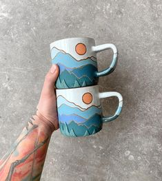 mug cup Say hello to the newest colorway in the PEAKS series! Guys Im sooo excited for this one! It is the color in the permanent collection Pottery Painting Designs, Pottery Designs, Paint Designs, Mug Designs, Ceramic Mugs, Ceramic Pottery, Ceramic Art, Pottery Mugs, Painted Pottery
