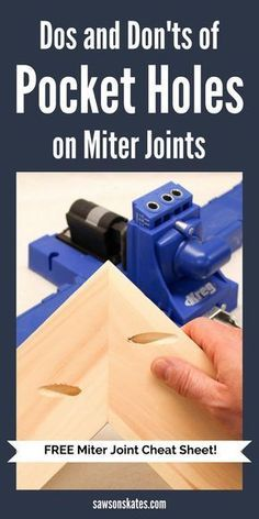 Projects like DIY furniture often require mitered corners, but drilling pocket holes on miter joints takes a little extra planning. This comprehensive tutorial shows three ideas about how to use a Kreg Jig for joining mitered corners using pocket holes. Woodworking For Kids, Woodworking Joints, Easy Woodworking Projects, Popular Woodworking, Woodworking Furniture, Diy Wood Projects, Woodworking Shop, Diy Furniture, Woodworking Plans