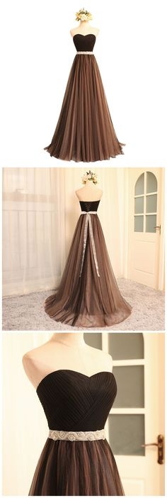 Chocolate prom dress with a sash,strapless sweetheart neck formal dress