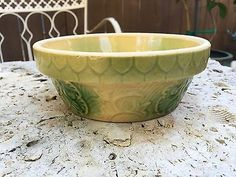 "Vintage Yellow Ware  7 1/4"" Cream and Green Apricot with Honeycomb Bowl"