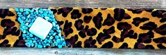 leopard print bandana with turquoise