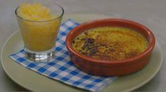 Eén - Dagelijkse kost - crème brûlée met pisang ambon & sinaasappelgranité