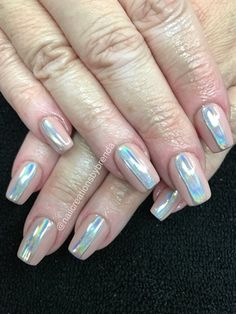 Natural With Hologram Stripes by brenbrat from Nail Art Gallery Christmas Manicure, Christmas Nail Art, Winter Nail Art, Winter Nails, Bright Red Nails, Nail Hardener, Popular Nail Art, Red Nail Polish, Holographic Nails