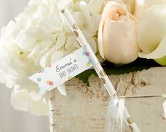 Personalized Baby Party Straw Flags