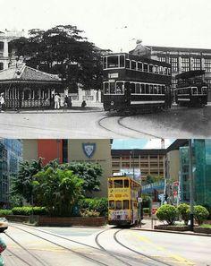 "Bill ✔️  ""Then & Now"" Causeway Bay, Hong Kong.. Where the tracks split for Johnson Road.    Bill Gibson-Patmore.  (curation & caption: @BillGP). Bill✔️"