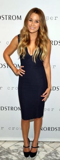Who made Lauren Conrad's navy blue dress that she wore in Los Angeles on September 8, 2011?