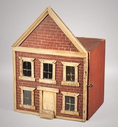 "Hand painted brickface doll house with wallpapered interior. Over 50 years ago there was a bit of trim replacement. Dimensions: 17.25"" H, 12.5"" W, 10"" D."