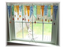 Softest Seasons NUMBER ONE Stained Glass Window Treatment Kitchen Valance Curtain from Etsy shop Little La La Originals