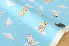 Japanese Fabric Sonoda-kun cat paper planes  blue  by MissMatatabi