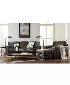 Furniture Avenell Leather Sectional and Sofa Collection, Created for Macy's & Reviews - Furniture - Macy's Leather Couch Sectional, Modular Sectional Sofa, Sectional Sleeper Sofa, Leather Loveseat, Living Room Sectional, Leather Ottoman, Sofas, Living Room Decor Cozy, Living Room Sets
