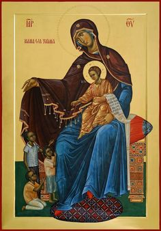 "Theotokos with the inscription in Swahili ""Mother of the Orphans"". (Icon painted by Marius Ghinescu) Religious Images, Religious Icons, Religious Art, Religious Paintings, Byzantine Icons, Byzantine Art, Church Icon, Best Icons, Art Icon"