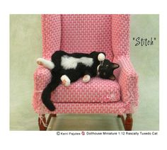 """Rascally Tuxedo Cat """"Stitch"""" by Kerri Pajutee.  Note the claw tears on the chair!  :)"""