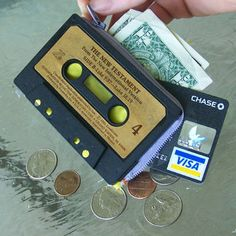 My teens at the library really want to make these but the only cassette tapes left at the library are really boring ones .  Still looking for some fun cassette tapes for my upcycled teen craft classes I'm doing at the library!! Please send your unwanted cassettes my way!!   Cassette tape wallet - before you throw out your favorite tape from the 80s, make it into a wallet.