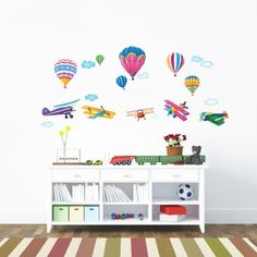 6 Hot Air Balloons and 5 Biplanes in the Sky Wall Stickers