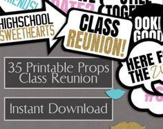 Class Reunion PRINTABLE photo booth props High School Reunion