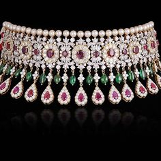 Burmese ruby, emerald and diamond choker