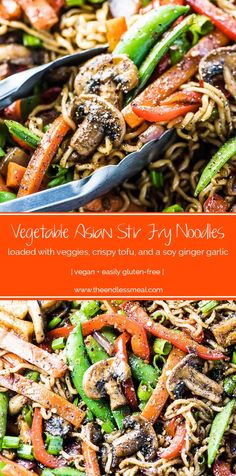Asian Stir Fry Noodles SAVE FOR LATER! Asian Stir Fry Noodles are loaded with vegetables and crispy tofu and cooked in a delicious soy, garlic, ginger sauce. It's an easy vegetarian (and vegan!) dinner recipe that you can whip up in just 30 minutes. Vegan Dinner Recipes, Vegetarian Recipes, Healthy Recipes, Vegetable Stir Fry, Vegetable Dishes, Chinese Coleslaw, Vegan Stir Fry, Vegetarian Stir Fry, Sante Bio