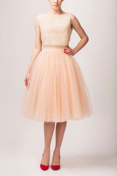 Silk blouse and tulle skirt