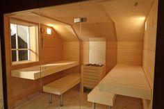 Sauna mit 3-teiliger Glasfront #Erdmann #Sauna #ErdmannSaunabau #ErdmannExklusiveSaunen #Glas #Puristisch #Spa #Wellness